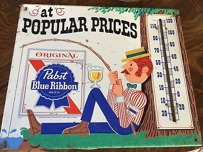 """Pabst blue ribbon thermometer sign - Metal 14"""" X 27"""""""