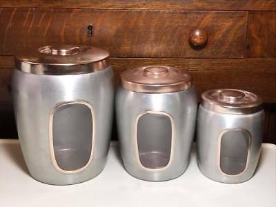 Set of 3 Vintage brushed aluminum canisters