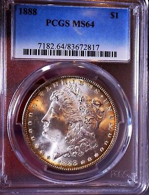 Morgan Silver Dollar 1888 P PCGS MS 64++++ Monster With Peripheral Tone PQ Satin