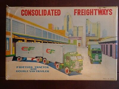 Vintage Tinplate Consolidated Freightways Friction Tractor & Double Van - Japan