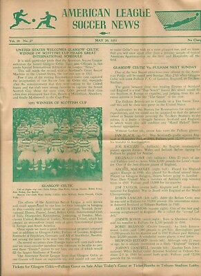 Vintage Historic Soccer Sheet - 1931 - American League Soccer News.