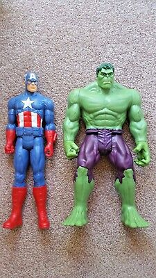 MARVEL 11.5 Inch Incredible Hulk and Captain America Action Figures LOT OF 2