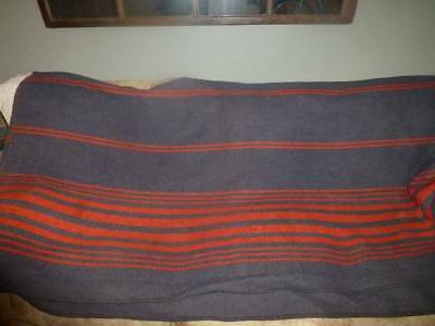 "Vintage Wool Blue with Red Stripe Blanket 78"" x 90"" Cabin Camp"
