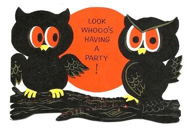 VINTAGE 1950's HALLOWEEN Party Invitation Card with Owls on a Branch, Moon