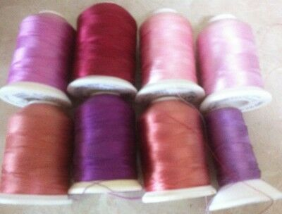 8x Robison Anton Machine Embroidery Thread Spools - Pink Shades - USED