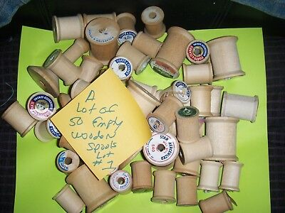 Vintage Empty Wood Sewing Thread Spools a lot of 50 ! for crafts or whatever #1