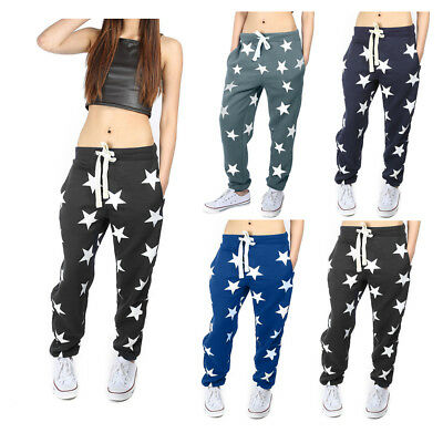 Girls Womens New Star Print Ladies Bottoms Waistband Tracksuit Jogging Joggers