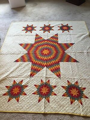 Early Lone Star Quilt. Gorgeous! Cheddar, Red and  Grey Green