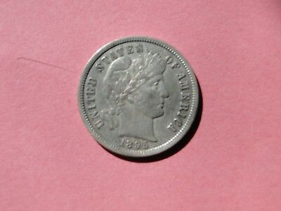 BETTER DATE 1895 Barber Dime, XF+ details