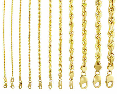 "Solid 10K Yellow Gold 1mm-10mm Rope Chain Necklaces Bracelets Mens Women 7""- 32"""
