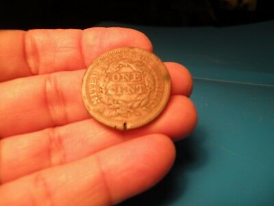 1854 Braided Hair Large Cent 1C look at photos one side scrathed E18