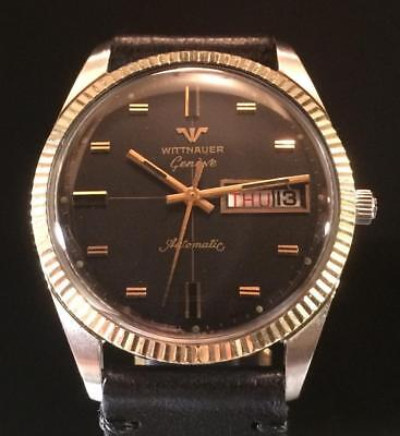 Vintage Wittnauer Automatic - 35mm - Black Dial - Solid Gold Bezel