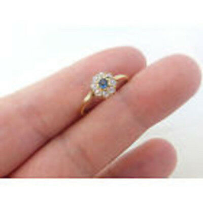 Art Deco Sapphire Old Mined Cut Diamond Halo Cluster Flower Daisy Ring 18k Gold