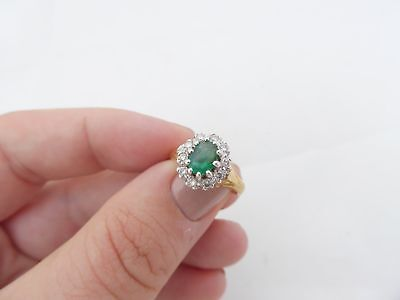 Vintage Oval Emerald Diamond Halo Cluster Ring 18k Yellow & White Gold Size 6