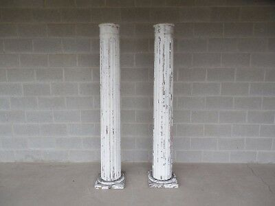 "Vintage Architectural Salvage Greek Revival Pillars Columns - Pair 73.5""H"