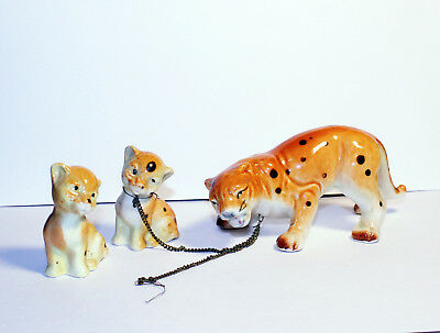 Vintage Ceramic Leopard, Cheetah Family, Mom and 2 Kids, Made in Japan