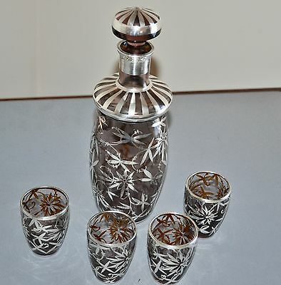 Antique Amethyst Glass Decanter & 4 Cordial Cups Sterling Silver Overlay