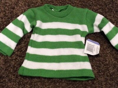 MAX GREY baby boys green and white striped sweater size 12-18 m NWT