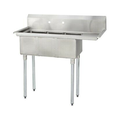 (3) Three Compartment Commercial Stainless Steel Sink 44.5 x 20