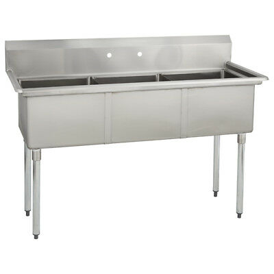 (3) Three Compartment Commercial Stainless Steel Sink 59 x 23.5