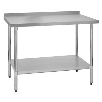 "Stainless Steel Commercial Work Prep Table - 2"" Backsplash - 30 x 30 G"