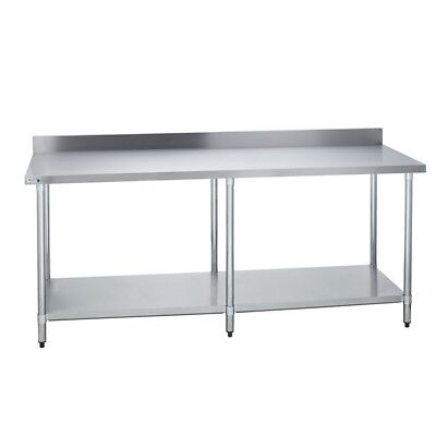 "Stainless Steel Commercial Kitchen Work Prep Table - 4"" Backsplash - 24 x 84 G"