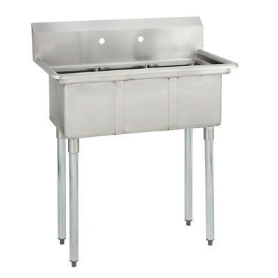 (3) Three Compartment Commercial Stainless Steel Sink 35 x 20