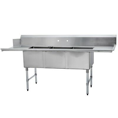 (3) Three Compartment Commercial Stainless Steel Soiled Dish Table 30 x 90 G