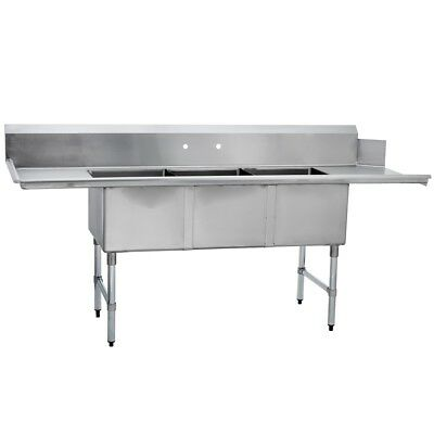 (3) Three Compartment Commercial Stainless Steel Soiled Dish Table 30 x 102