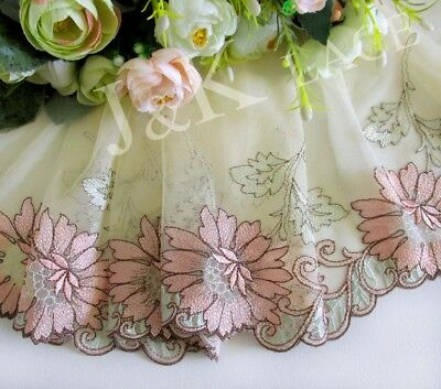 23 cm width Elegant Light Salmon Pink /Pale Goldenrod Embroidery Mesh Lace Trim