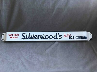 Vintage Take Home Enough Silverwood's Deluxe Ice Cream Porcelain Door Push Bar