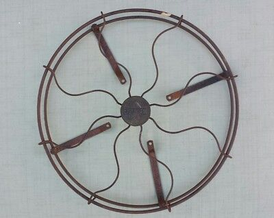 "Antique Vintage 1920's Emerson Fan Steel Cage and Brass Logo Badge for 12"" Fans"