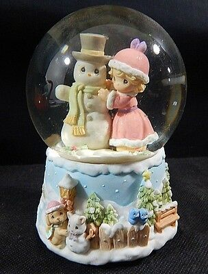 2000 Precious Moments Water Globe Girl Snowman Musical WISH YOU MERRY CHRISTMAS