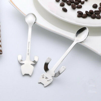 Cute Cat 304 Stainless Steel Ice Cream Cocktail Soup Teaspoons Coffee Tea Spoons