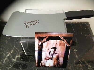Gunnar Hansen Texas Chainsaw Massacre Signed  Meat Cleaver And 8X10 Photo