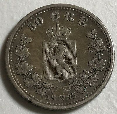 1895 Norway 50 Ore World foreign silver coin great condition low mintage rare