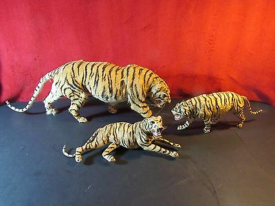 Real Fur & Hide Animal Toys~Set of 3 Antique Taxidermy Circus Tigers
