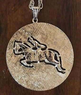 Vintage Horse Jumping Equestrian Steeplechase Necklace Pendant Jewelry