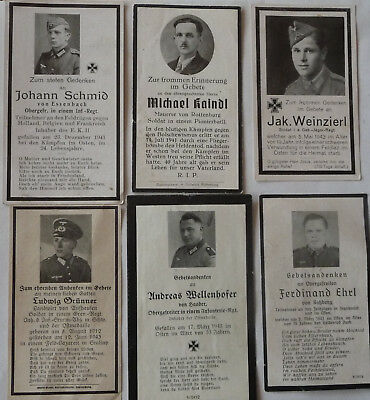 WW II  Original German Soldiers  6  Deathcards diffr Sold Eastwestfront