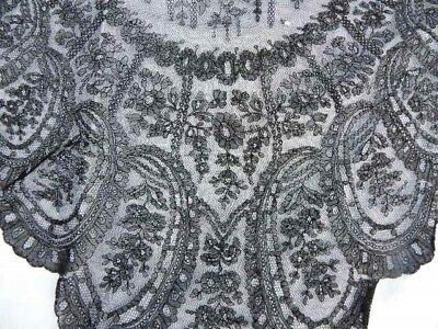 Antique 19thc Victorian Chantilly Lace Shawl Mantilla Black Roses & Flowers