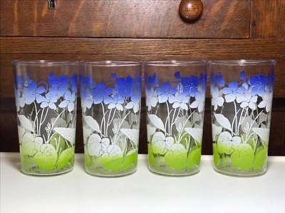 Set of 4 Vintage Blue, White and Green floral Anchor Hocking juice glasses