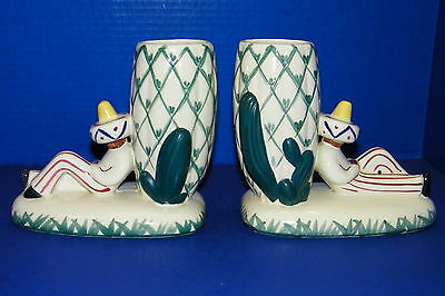 Pair of Abingdon Pottery Mexican Cactus Bookend Planters Vases 2 Colorful