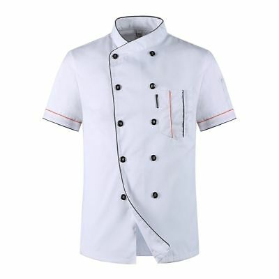 Unisex chef Coat Uniforms Jacket Short sleeves Kitchen Restaurant Hotel Worker