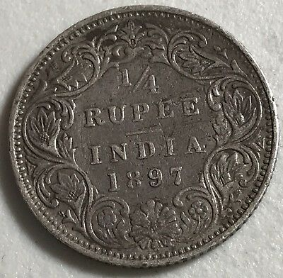 1897 British India 1/4 Rupee World foreign silver coin great condition