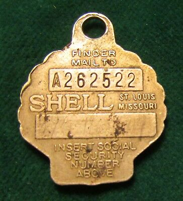 vintage Shell Oil Company advertising Key tag watch or charge Fob - numbered