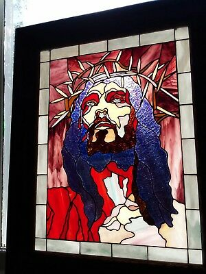 Jesus STAINED GLASS window not painting victorian frame Tiffany style church