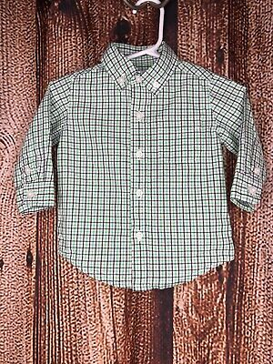 Janie and Jack Baby Boys Plaid Button Up Shirt Size 3-6 Months Long Sleeve