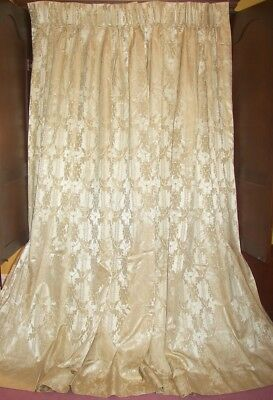 Vintage French Country Victorian Baroque Gold Silk Floral Drapes Curtains Panels