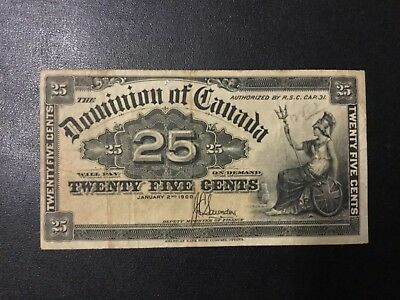 1900 Canada Paper Money - 25 Cents Banknote !