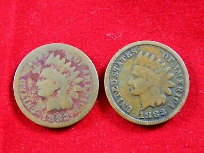 1883 Indian Head Pennies /lot Of 2 U.s / Cu-Ni / 4.67 Grams / 19.0 Mm. / #1540